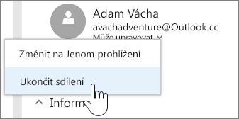 Snímek obrazovky, který zobrazuje výběr oprávnění uživatele aukončení sdílení