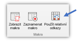Snímek obrazovky ukazující tlačítko Použít relativní odkazy.