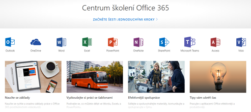 Domovská stránka Centra školení Office s ikonami pro různé aplikace Office a dlaždicemi pro dostupné typy obsahu