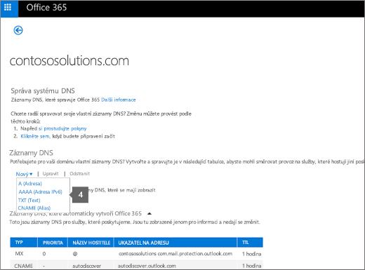 Klikněte na Nový a na typ záznamu DNS.
