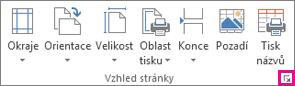 Ikona pro otevření dialogového okna ve skupině Vzhled stránky