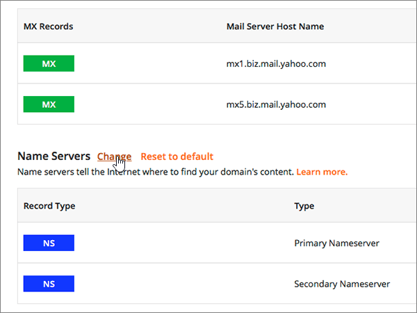 Click Change on the Domain Control Panel page
