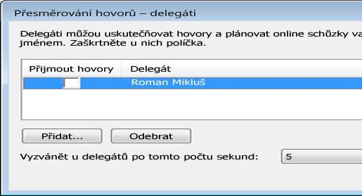 Obrázek přidávání delegáta v Lyncu