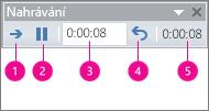 Ukazuje pole časování nahrávání pro PowerPoint.