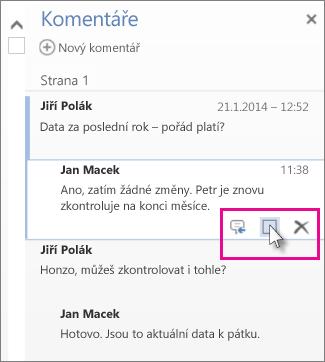 Obrázek příkazu pro označení komentářů jako dokončených. Tento příkaz se zobrazí při kliknutí na komentář.