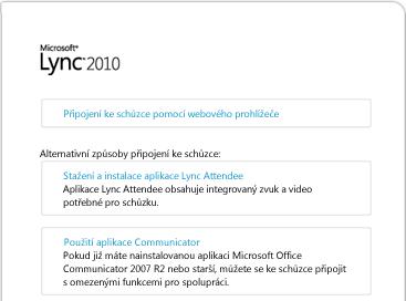 Obrázek okna prohlížeče s aplikací Lync