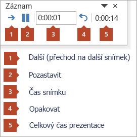 Panel nástrojů Zkouška čas snímku