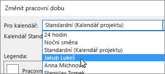 Zdroje informací v seznamu pro kalendář