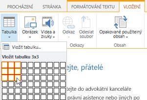 Vložení tabulky na veřejném webu SharePoint Online