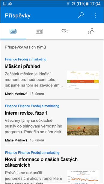 Snímek obrazovky s kartě příspěvky