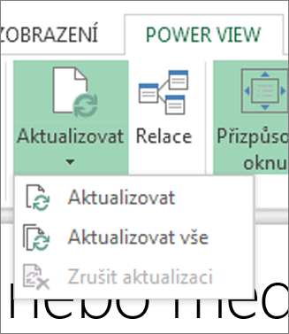 Power View – tlačítko Aktualizovat