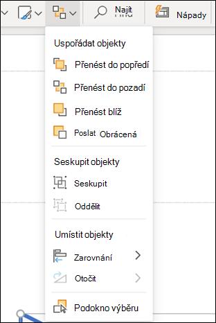 Nabídka Uspořádat v PowerPointu pro web