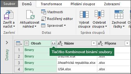 Stiskněte tlačítko Sloučit binární soubory z obsahu sloupec dotazu nebo z části zkombinovat v pásu karet Power Query