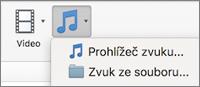 Nabídka Vložit zvuk s možnostmi Zvuk ze souboru a Prohlížeč zvuků