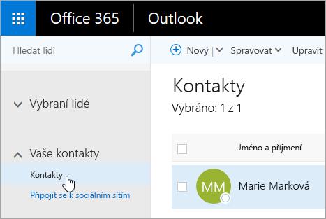 Snímek obrazovky s kurzorem na tlačítku Kontakty na stránce Lidé