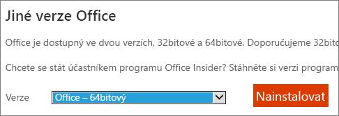 Snímek obrazovky s rozevíracím seznamu vyberte možnost instalovat Office – 64bitová verze