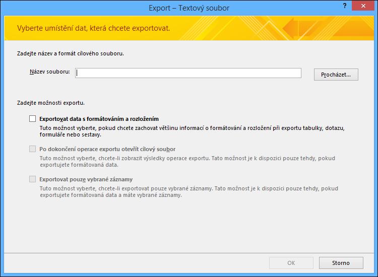 Vyberte možnosti exportu v dialogovém okně Export – Textový soubor.