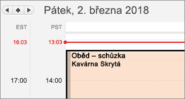 Detail kalendáře se dvěma různými časovými pásmy na levé straně