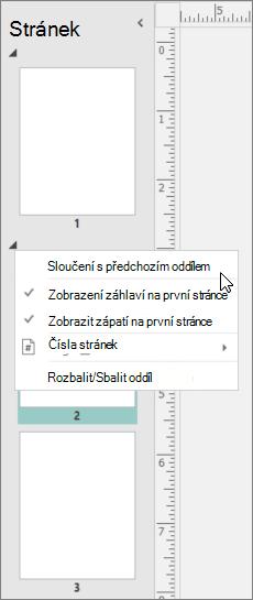 Snímek obrazovky s vybraným oddílem ukazujícím na možnost sloučit s předchozím oddílem