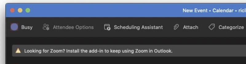 Informační panel zobrazující Zoom