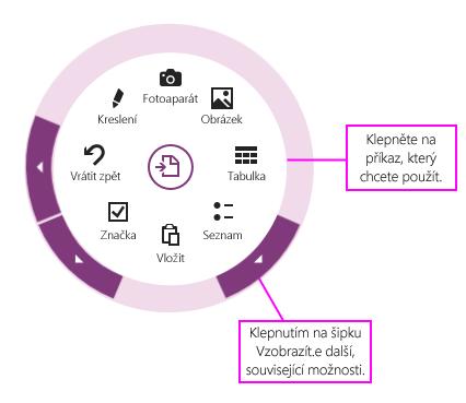 Použití kruhové nabídky kliknutím na příkazy nebo šipky