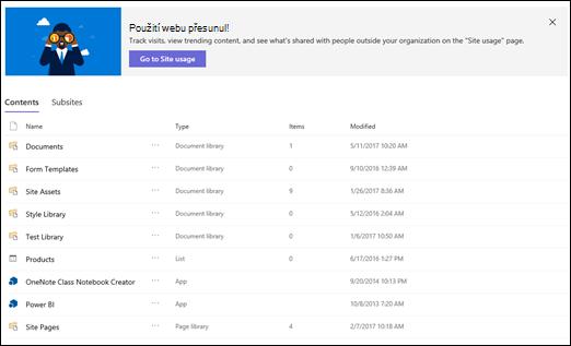 Stránka obsah webu služby SharePoint