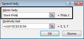 Do textového pole Název řady zadejte název legendy a klikněte na OK.