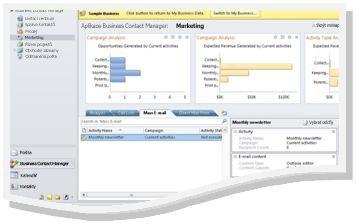 Pracovní prostor Marketing v ukázkové firmě s navigačním podoknem a nápisem Ukázková firma