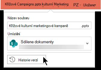 Když v záhlaví vyberete název souboru, získáte přístup k historii verzí souboru.