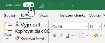 Přepínač automatického ukládání v Excelu