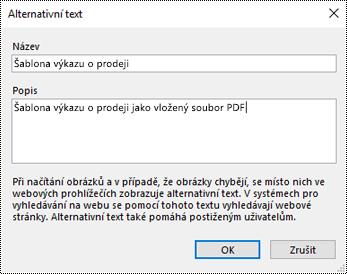 Dialogové okno s možností přidání alternativního textu k výtisku souboru