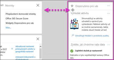 Akce s widgetu ve skupině zabezpečení a dodržování předpisů Centrum přesunutý na levé straně prostřednictvím možnost Přizpůsobit na domovské stránce
