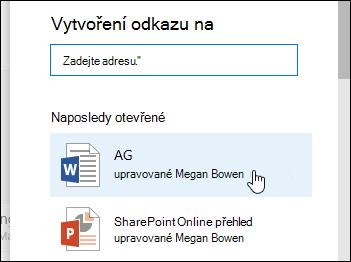 Přidání odkazu v knihovně dokumentů na poslední položku