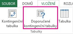 Doporučené kontingenční tabulky na kartě Vložení v aplikaci Excel