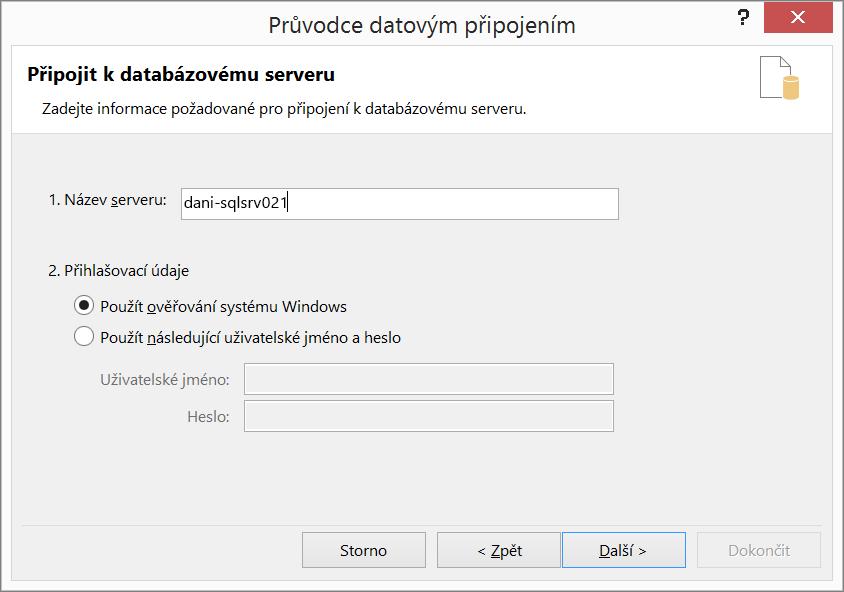 Připojení k databázovému serveru