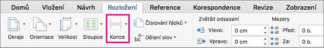 Kliknutím na Konce vyberte typ konce stránky, který chcete vložit na aktuální pozici kurzoru.