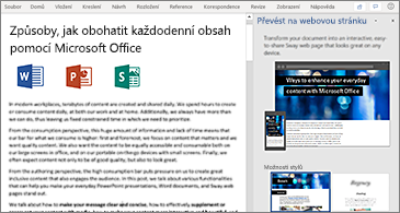 Dokument nalevo a podokno pro převod na webovou stránku napravo