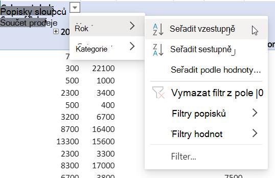 Oblast řádků s kombinovanými filtry