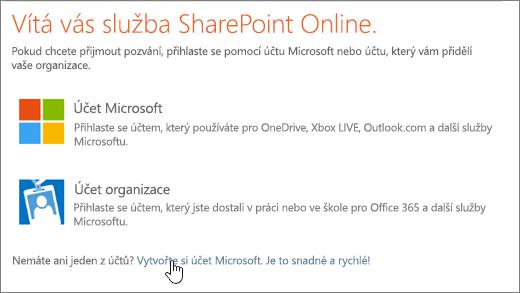 Snímek spřihlašovací obrazovkou SharePointu Online svybraným odkazem pro vytvoření účtu Microsoft