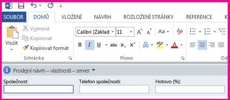 Panel informací o dokumentech zobrazuje textová pole tak, aby mohli uživatelé přidávat metadata.