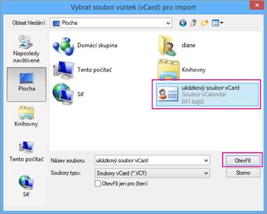 Zvolte soubor vCard, který chcete naimportovat do .csv.
