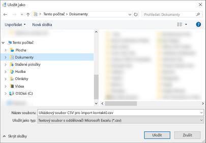 Stáhnout ukázkový soubor CSV uložte do počítače jako soubor typu CSV.