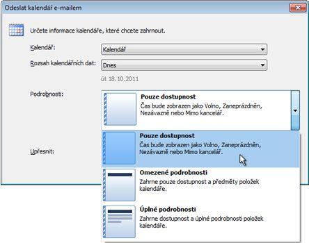 Seznam Podrobnosti v dialogovém okně Odeslat kalendář e-mailem