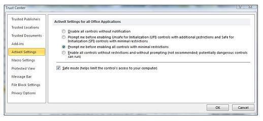 Oblast Nastavení ovládacích prvků ActiveX v Centru zabezpečení