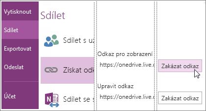 Snímek obrazovky s postupem zakázání odkazu v OneNotu 2016