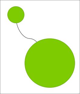 Zobrazuje spojnici za dvěma kruhy.