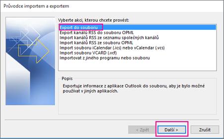 Zvolte Export do souboru.