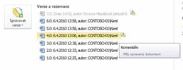 Zobrazení Backstage Historie verzí souboru aplikace Microsoft Word Je vybrána verze 4.