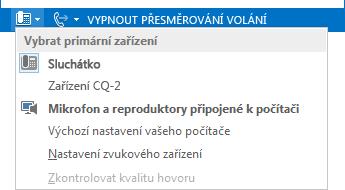 Snímek obrazovky s nabídkou Vybrat primární zařízení