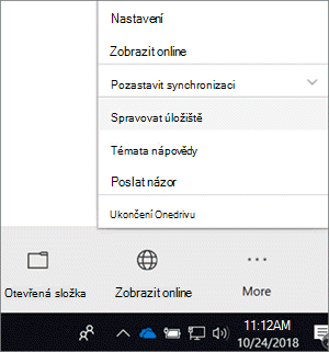 Snímek obrazovky s nabídkou nového synchronizačního klienta OneDrivu pro firmy s vybranou možností Správa úložiště